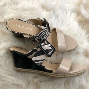 CL by Laundry patent wedge animal print sandals